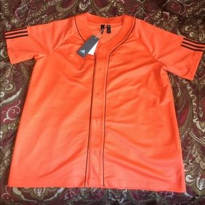 Mens Orange Adidas Baseball Jersey